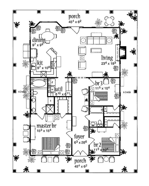 Home the o 39 jays and porches on pinterest for House plans with porch all the way around