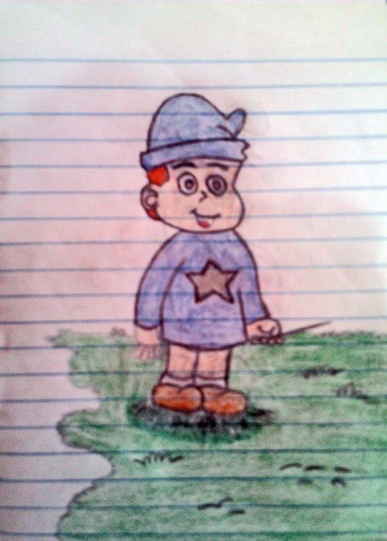 Personagem: David (De Sesinho e sua Turma) Desenho de treinamento em caderno! Material: Grafite HB e Lápis de Cores diversas.