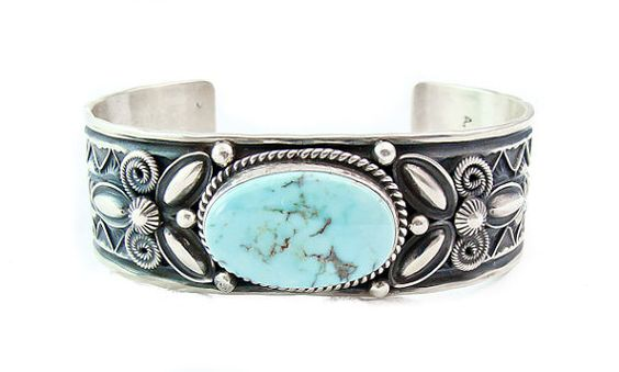 Andy Cadman Silver Dry Creek Turquoise Cuff Bracelet Navajo