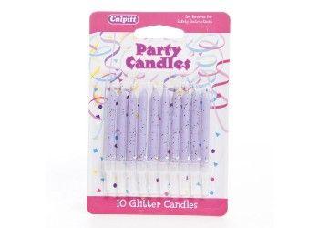 #CakeDecorating #Shop 10 #Glitter #Lilac #Candles http://www.mycakedecoratingshop.co.uk/cake-cupcake-shop/celebration-shop/candels-flags/10-glitter-lilac-candles