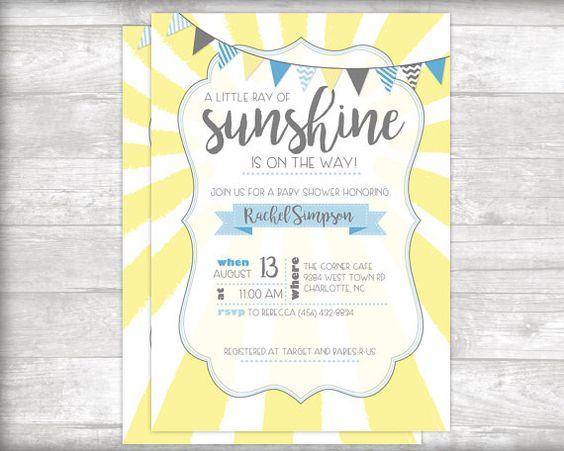 A Little Ray of Sunshine Baby Shower by bydandeliondesign on Etsy