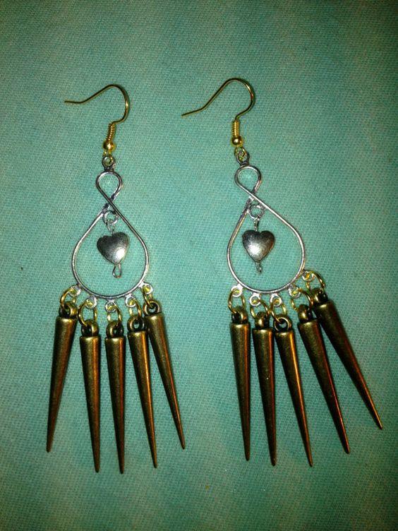 Exploding Hearts Spiked Chandelier Earrings by LitteredNation, $17.00