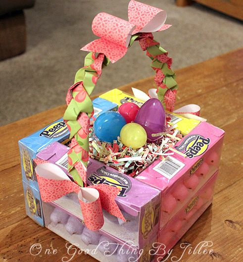 Edible easter baskets made from boxed candy glue gun sheet of edible easter baskets made from boxed candy glue gun sheet of brown foam for handle and ribbon so easy easter pinterest glue guns easter baskets negle Gallery