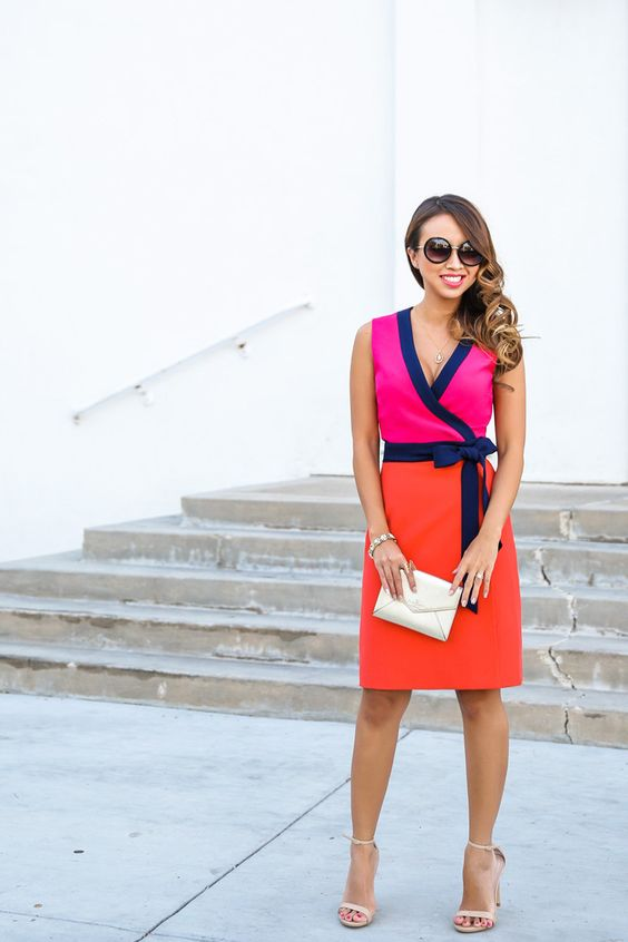 pink and orange wrap dress with heels