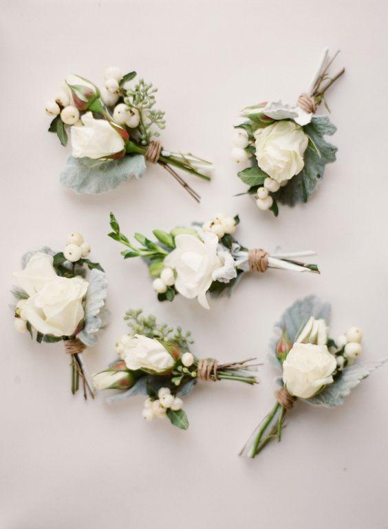 lamb's ear + white rose boutonnieres   via: style me pretty: