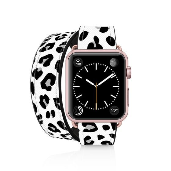 Saffiano Double Tour Straps 38mm 40mm Rose Gold Leopard Print Apple Watch Best Apple Watch Apple Watch White