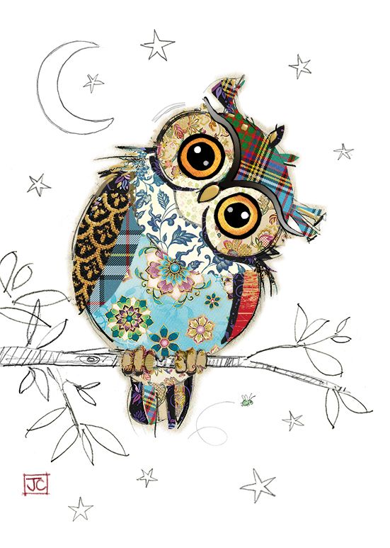 G023 Owen Owl bug art greeting card