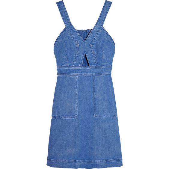 Stella McCartney Cutout denim mini dress (€385) ❤ liked on Polyvore featuring dresses, stella mccartney, denim, vestidos, blue dress, denim summer dress, denim dresses, blue mini dress and cut out summer dress