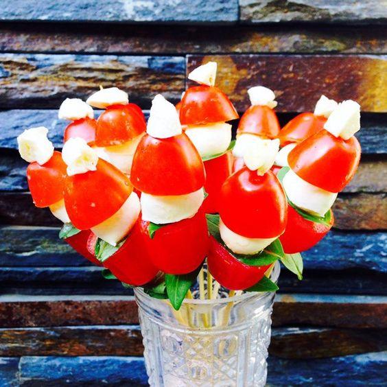 Caprese Tomato Bocconcin and Basil Santas
