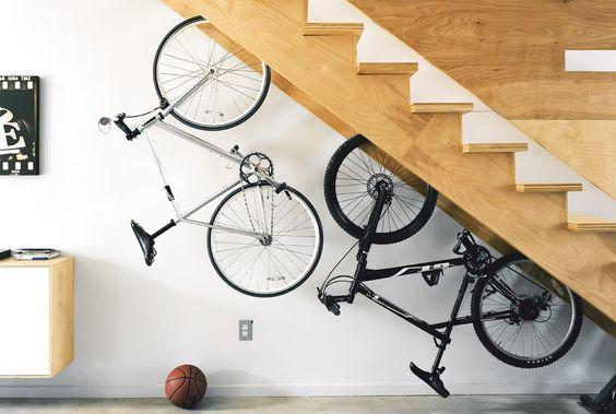 Bikes stores under stairs:
