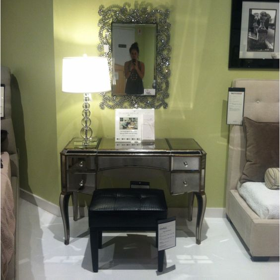 Mirrored desk/makeup vanity that I saw at Jordanu0026#39;s Furniture : Home ideas once we win the ...