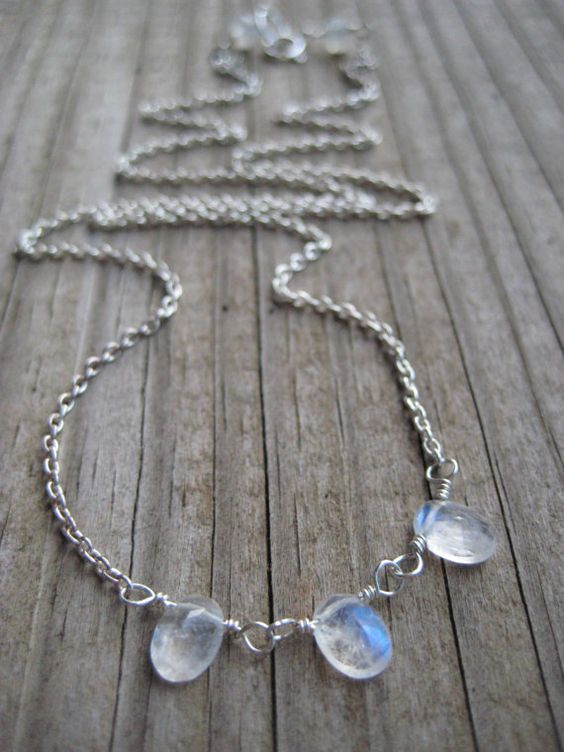 Ethereal Moonstone and Sterling Necklace by thevelvetkitten, $58.00