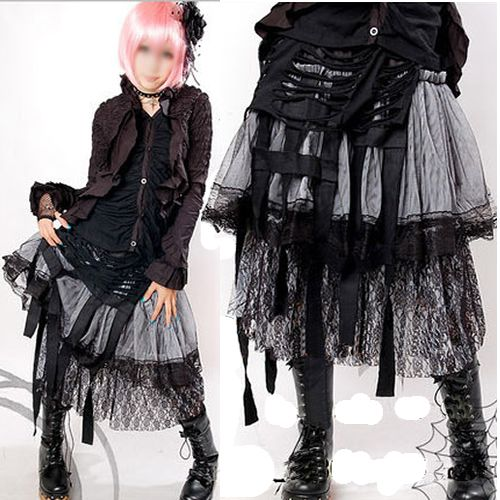 Alternative Goth Punk Emo Clothes Long Strapless Dresses and Skirts SKU-11406051