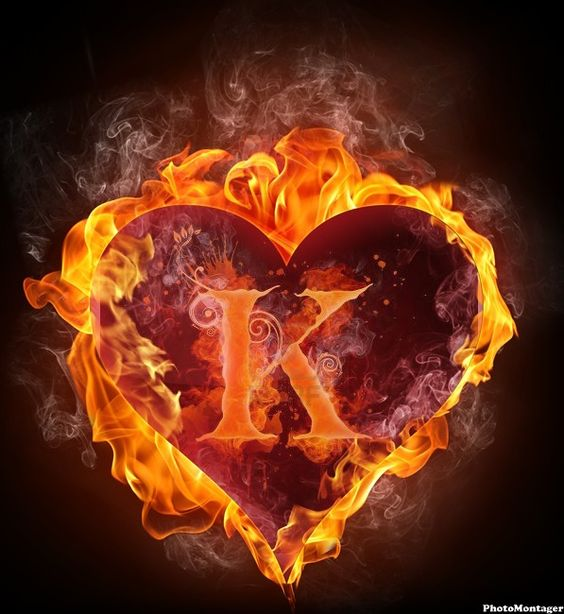 more hearts ...K Logo In Fire