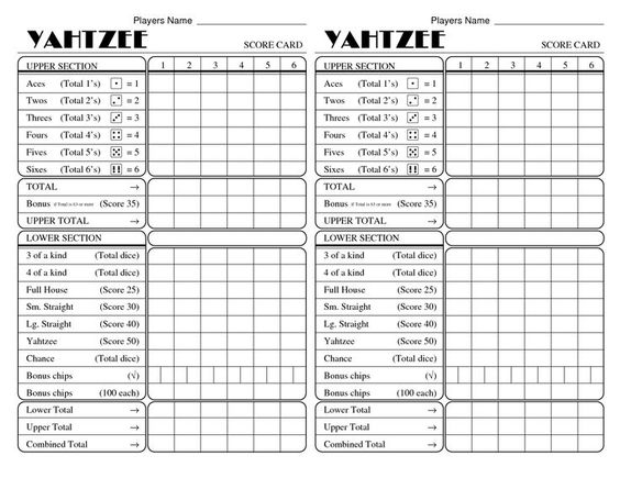 It's just a photo of Canny Free Printable Yahtzee Score Sheets