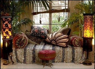 mostly neutral understated chic bohemian ..I like the plants .. : ):