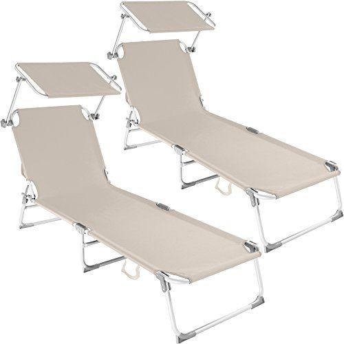 Tectake Lot De 2 Chaise Longue Bain De Soleil En Aluminium Pliable Avec Parasol Pare Soleil Diverses Couleurs Au Choix Transat Jardin Chaise Longue Bain De Soleil Pliant