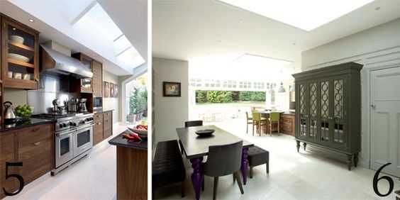 Skylights run the full length of this lean-to extension; This kitchen extension has an elegant dining area