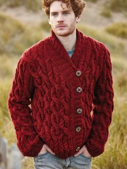 Usk -- Knit this mens cable Cardigan from the Brushed Fleece brochure designed by Martin Storey using Brushed Fleece (extra fine merino and baby alpaca ) . With shawl collar, wrapover front detail and set in sleeves. this knitting pattern is for an experienced knitter