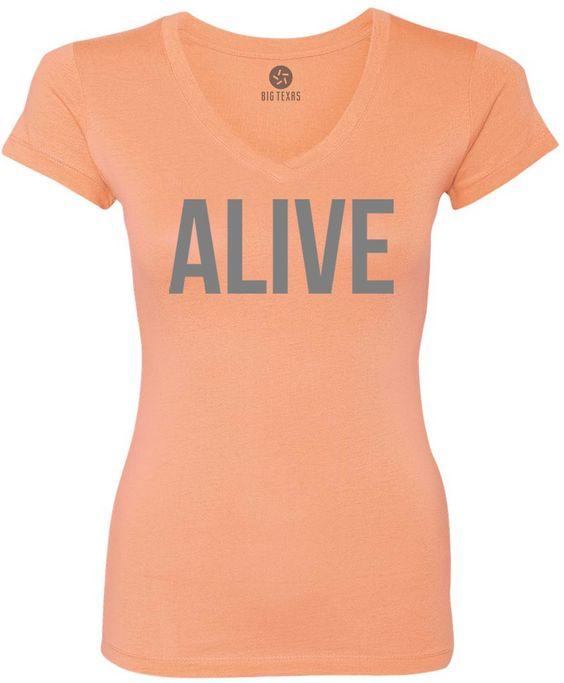 Alive (Grey) Women's Short-Sleeve V-Neck T-Shirt