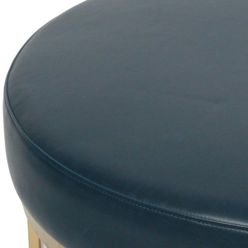 Maxwell Vintage Bonded Leather Round Ottoman in Vintage Blue by New Pacific…