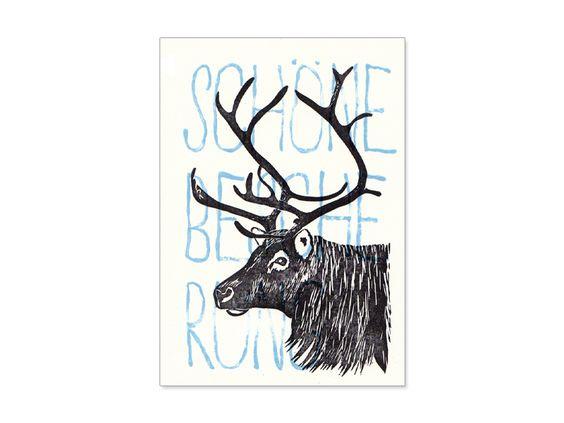 Diese handgedruckte Weihnachtskarte wurde mit selbstgeschnittenen Stempeln hergestellt.    Zweifarbig gedruckt auf Designpapier 300 g/qm.