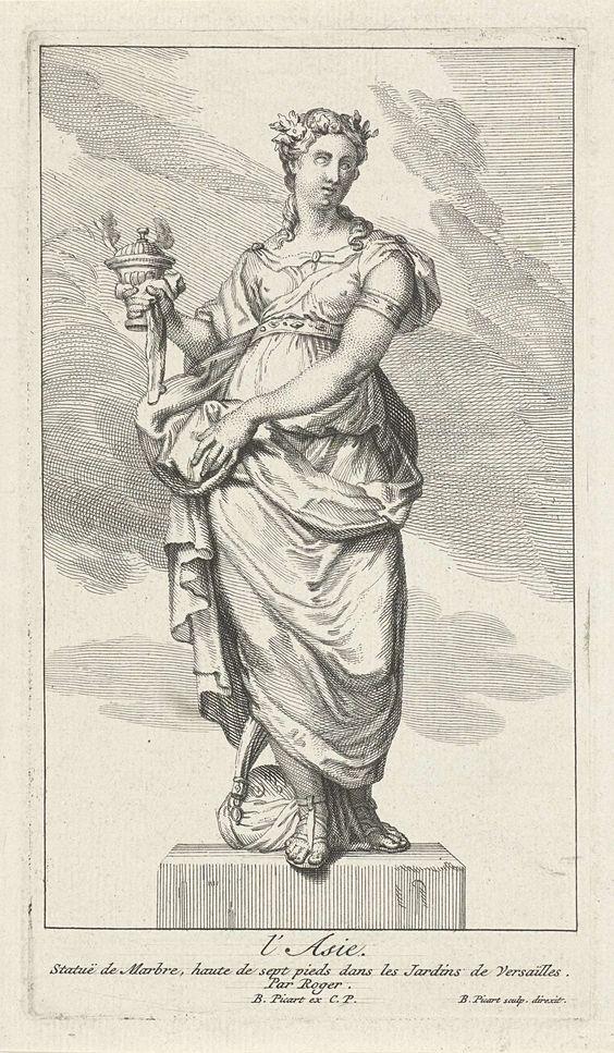 Bernard Picart | Azië, Bernard Picart, 1709 | Standbeeld in de tuinen van Versailles. De vrouwelijke personificatie van Azië, gekroond met een bloemenkrans, een wierookvat in de hand. Aan haar voeten een tulband. In de marge een onderschrift in het Frans.