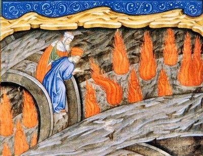 Anonimo lombardo : Dante e Virgilio con Ulisse: