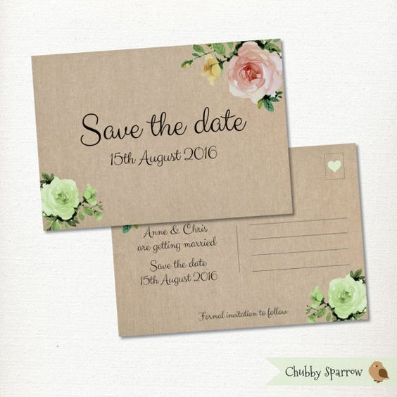 Floral Hessian Save the Date Postcard Wedding by ChubbySparrow