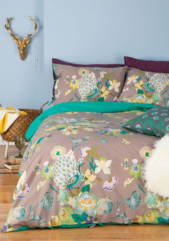 peacock inspired bedding set