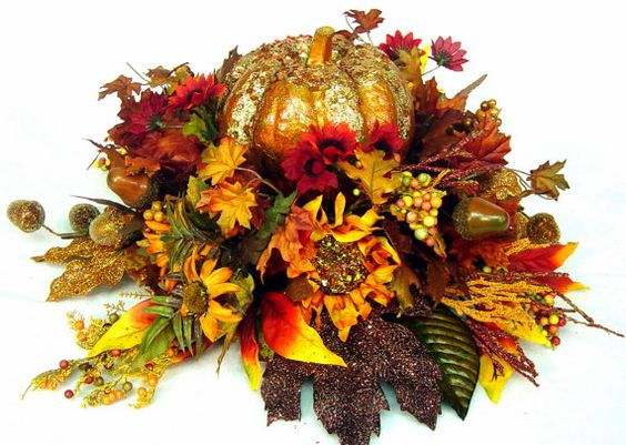 Fall Centerpiece Floral Arrangement Bejeweled Pumpkin Thanksgiving Dining Table Round By Cabin Cove Creations