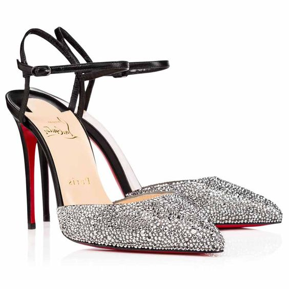 Christian Louboutin Rivierina 100mm Stras Strass Slingback Pointed Toe Pumps Black Metal Chrome