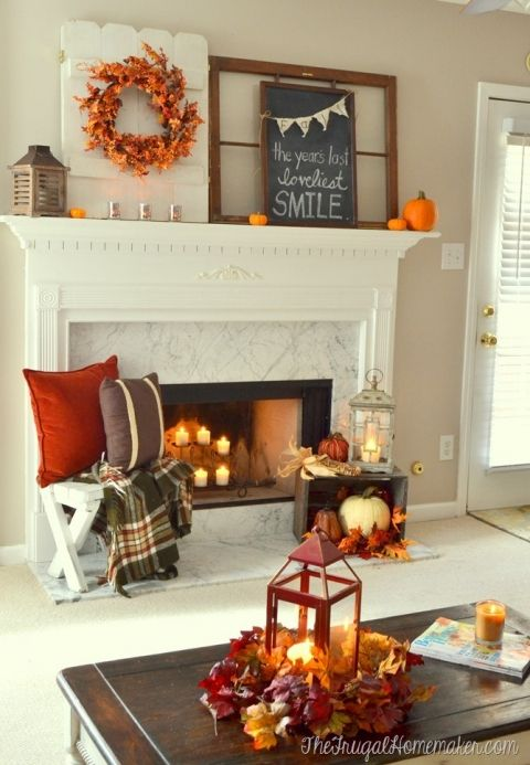 yard sale coffee table and Fall mantel