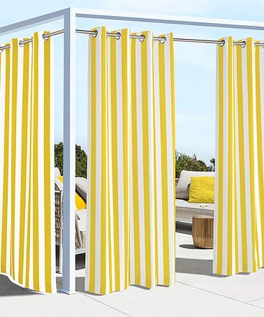 This Yellow Coastal Stripe Grommet Top Curtain Panel Is Perfect Zulilyfinds Outdoor Panels Grommet Top Curtains