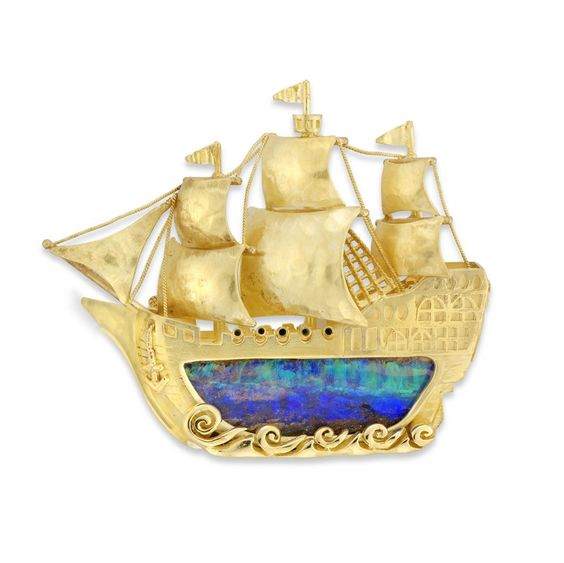 A gold and opal galleon brooch