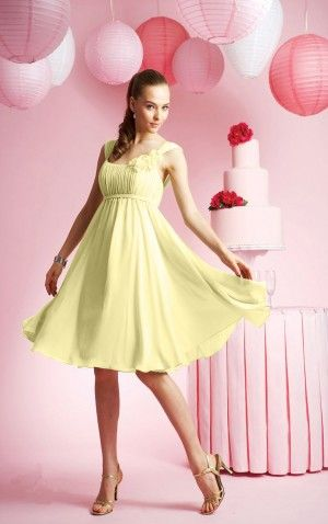 Unique Straps Sleeveless Chiffon Princess Knee-length Wedding Party Dresses