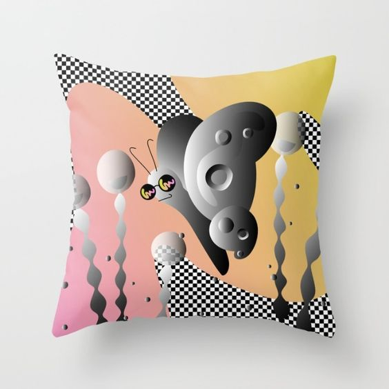 PIXEL GARDEN - Black White Checkered Butterfly Dream Throw Pillow by S T U D I O A O K O | Society6   #style #fashion #graphicdesign #design #butterfly #opart #art #graphic #checkered #checker #blackandwhite #pink #sunglasses #cute #bag #handbag #shopping #trippy #flora #fauna #plant #outdoors #landscape #garden #society6 #nyc #brooklyn #apartment #pillow #throwpillow #couch #livingroom #living #apartment #apartmenttherapy #home #homedecor