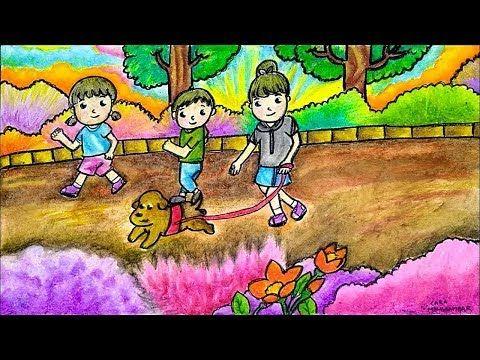 Cara Menggambar Tema Olahraga Di Pagi Hari Gradasi Warna Oil Pastel Youtube Cara Menggambar Gambar Kartun