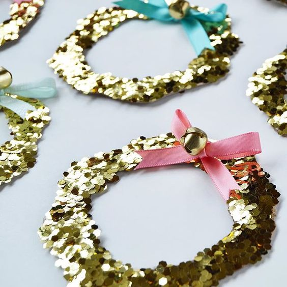 Simple wreaths made with chunky glitter and ribbon! Happy Holidays!!hellip