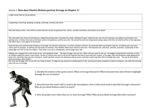 Scrooge Character Analysis For Secondary Ks Year  A Christmas