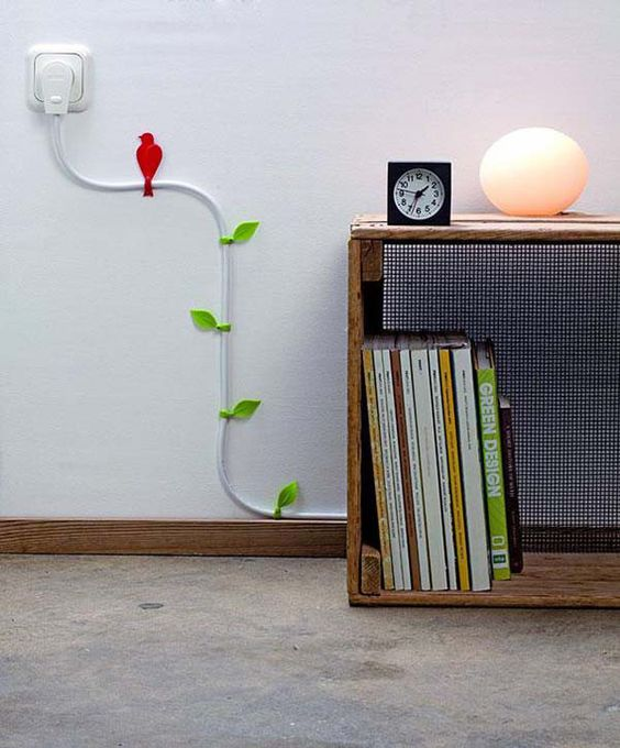 3.) Run cords along the walls with these pretty vine clips.