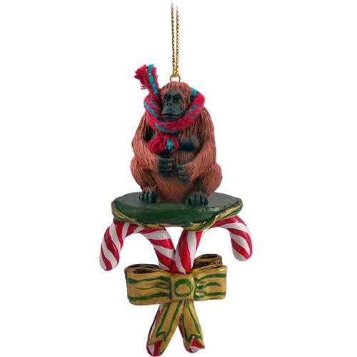 Orangutan Candy Cane Ornament