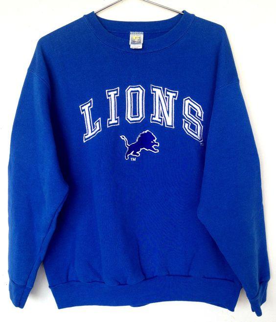 DETROIT LIONS Football NFL Crewneck Sweatshirt 90's Throwback ...