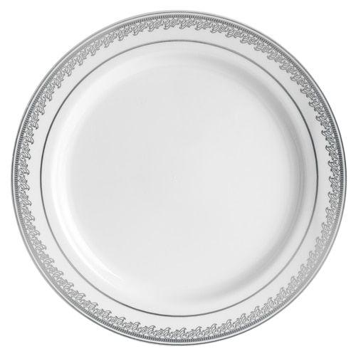 10 White Silver Prestige Plastic Dinner Plates Plates Plastic Plates Dinner Plates
