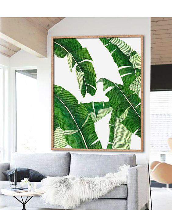 Banana Leaf Print Poster PRINTABLE FILE BG4 palm leaf by Dantell: