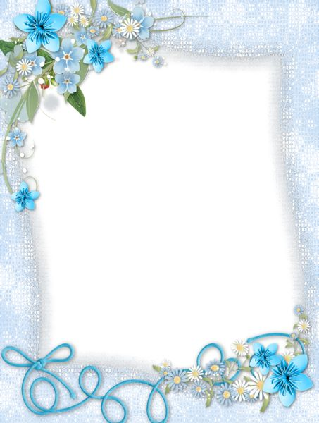 Transparent Blue PNG Frame with Flowers.