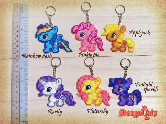 Baby My Little Pony keyrings hama mini beads by MangoCats
