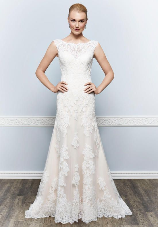 Lace wedding dress with bateau neckline and dropped waist I Style:1648 I by Kenneth Winston I http://knot.ly/6495BLGkd