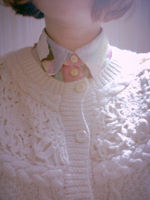 pastel shirt + cream white cardigan