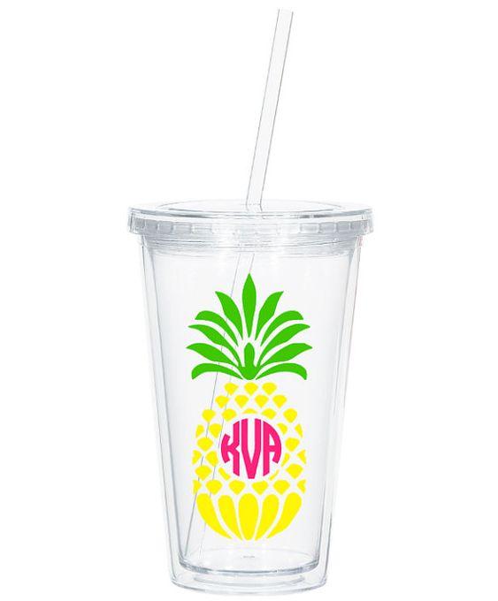 Pineapple Monogram Tumbler Custom Monogram by ThePinkWalrus